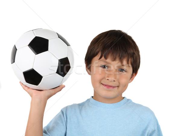 Fiatal vidám fiú futballabda magasra tart fehér Stock fotó © Freshdmedia