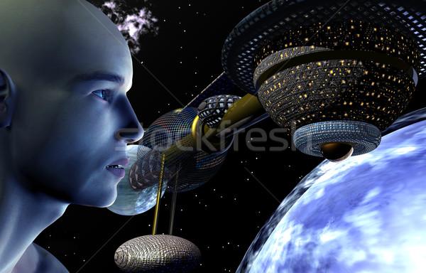 Astronave humanos invasión 3D prestados cara Foto stock © Freshdmedia