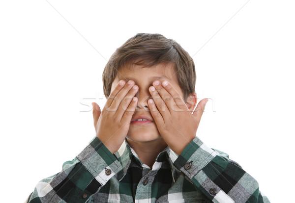 Stockfoto: Ogen · handen · witte · geïsoleerd · jongen
