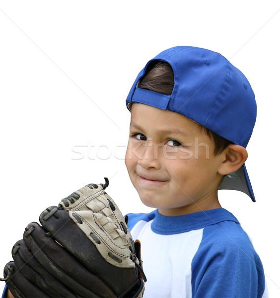 Hispanique baseball garçon bleu blanche vêtements Photo stock © Freshdmedia