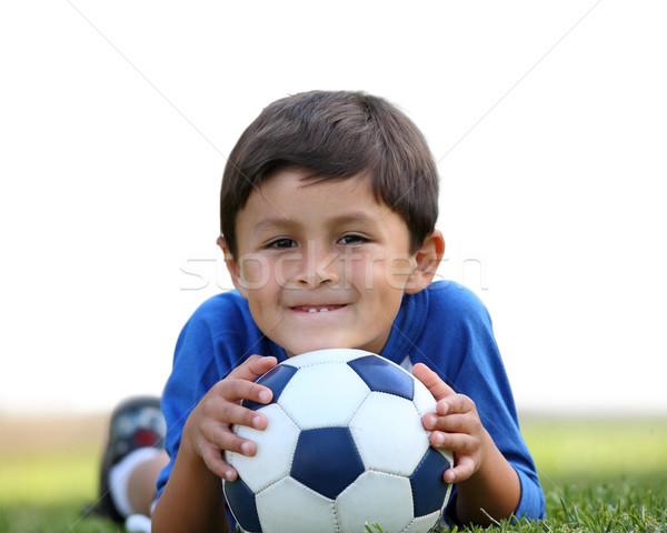 Garçon ballon jeunes hispanique isolement blanche Photo stock © Freshdmedia
