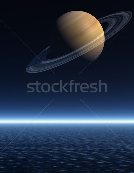 Saturn rising over a night time sea Stock photo © Freshdmedia