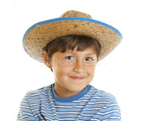 Speelgoed cowboyhoed gelukkig vrolijk glimlachend Stockfoto © Freshdmedia