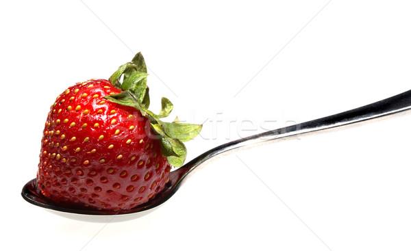 Eper kanál fehér étel eszik eszik Stock fotó © Freshdmedia