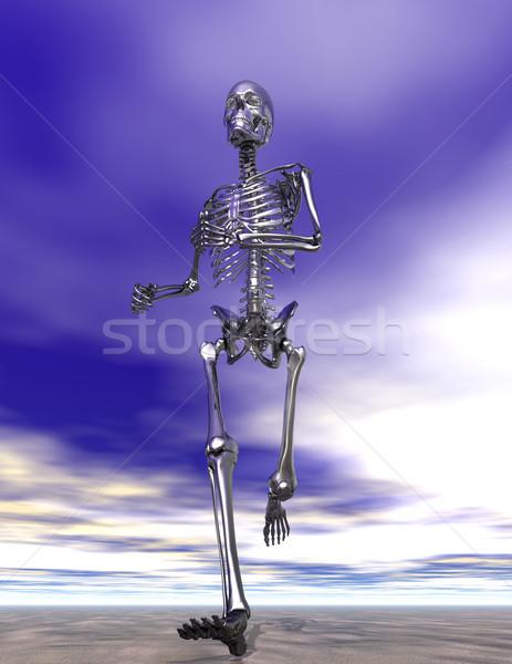 Stali uruchomiony szkielet mokro piasku siła Zdjęcia stock © Freshdmedia