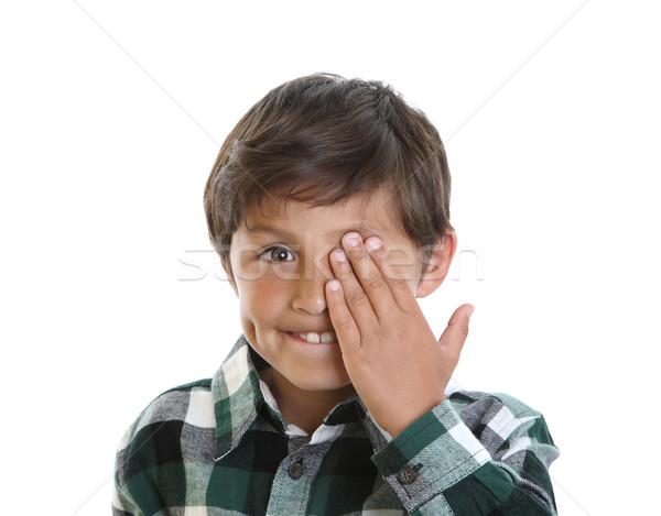 Boldog mosolyog fiatal srác egy szem kéz Stock fotó © Freshdmedia