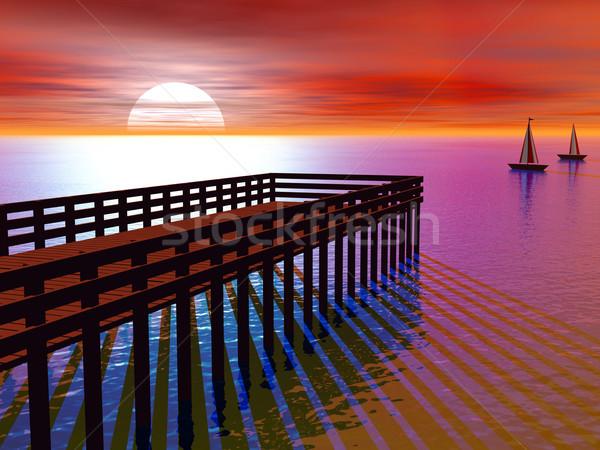 Caribbean iskele gün batımı 3D portakal Stok fotoğraf © Freshdmedia