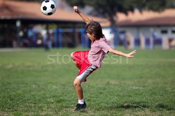 Garçon jouer football football parc paysage Photo stock © Freshdmedia
