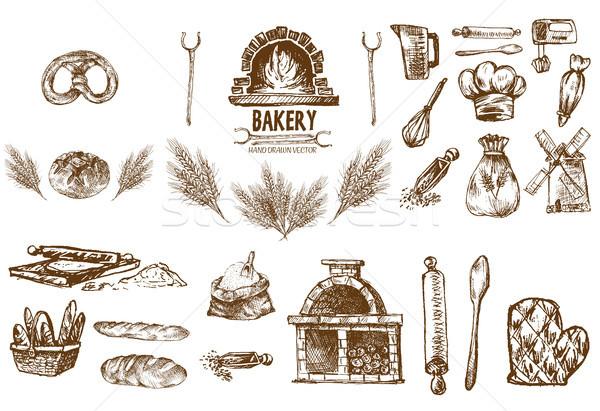 Digitális vektor részletes vonal művészet pékség Stock fotó © frimufilms