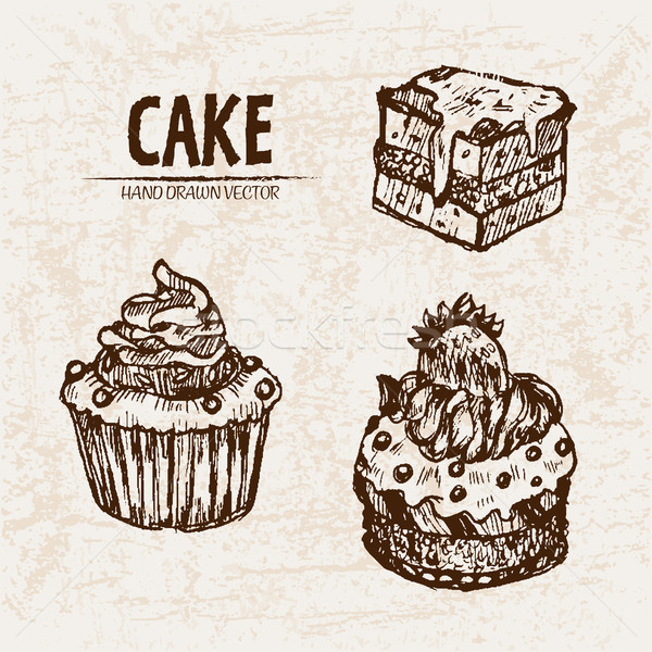 Digital vector detailed line art cupcakes and cake Stock photo © frimufilms