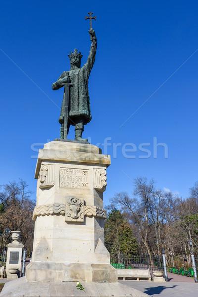 Heykel kısrak muhteşem Moldova mavi gökyüzü Stok fotoğraf © frimufilms