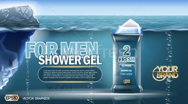 Digital vector blue shower gel for men mockup Stock photo © frimufilms