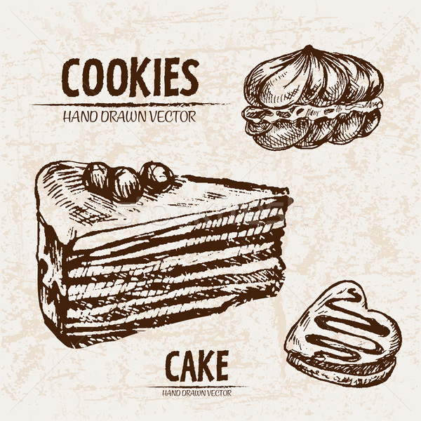 Stock photo: Digital vector detailed line art cakes slices