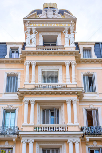 Beautiful view to Palais des Anglais apartments at daylight Stock photo © frimufilms