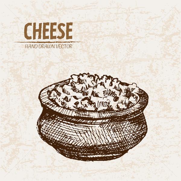 Digital vetor detalhado linha arte queijo ralado Foto stock © frimufilms