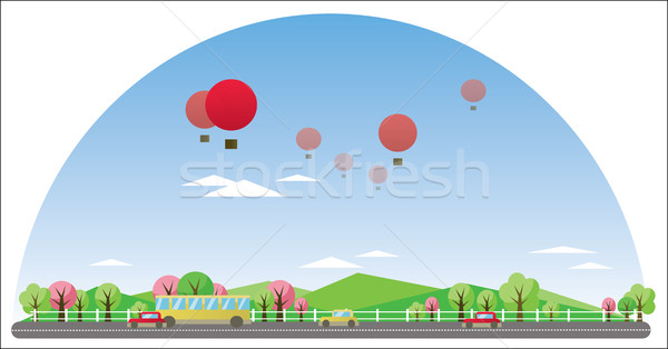 Digital vector abstract background with village Stock photo © frimufilms
