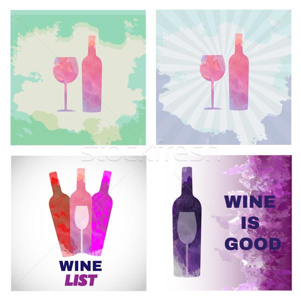 Borkóstolás kártya szett színes üveg üveg Stock fotó © frimufilms