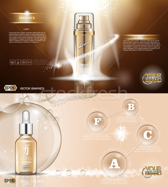 Digital vector golden glass bottle spray Stock photo © frimufilms