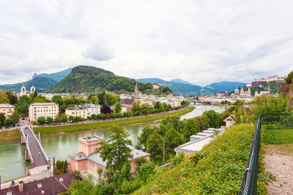 Panoramic view over stadt salzburg Stock photo © frimufilms