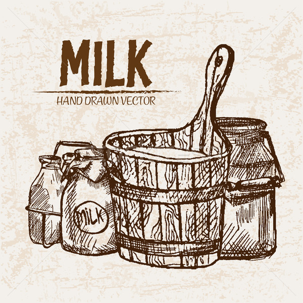 Dijital vektör ayrıntılı hat sanat süt Stok fotoğraf © frimufilms