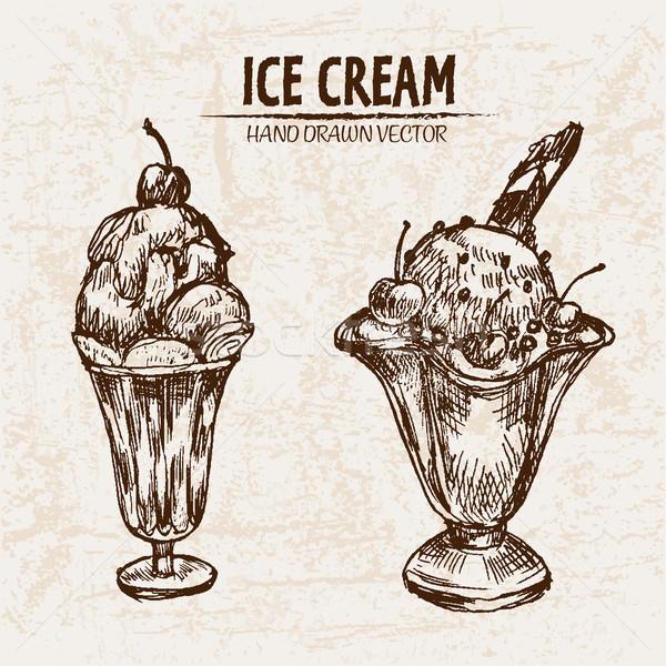 Digital vector detailed line art sundae ice cream Stock photo © frimufilms