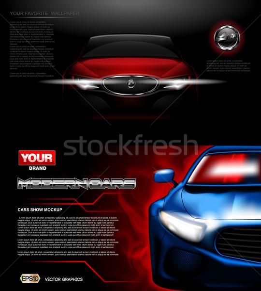 Digital vector red modern sport car mockup Stock photo © frimufilms