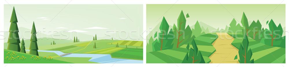 Digitális vektor absztrakt gyűjtemény szett fenyők Stock fotó © frimufilms