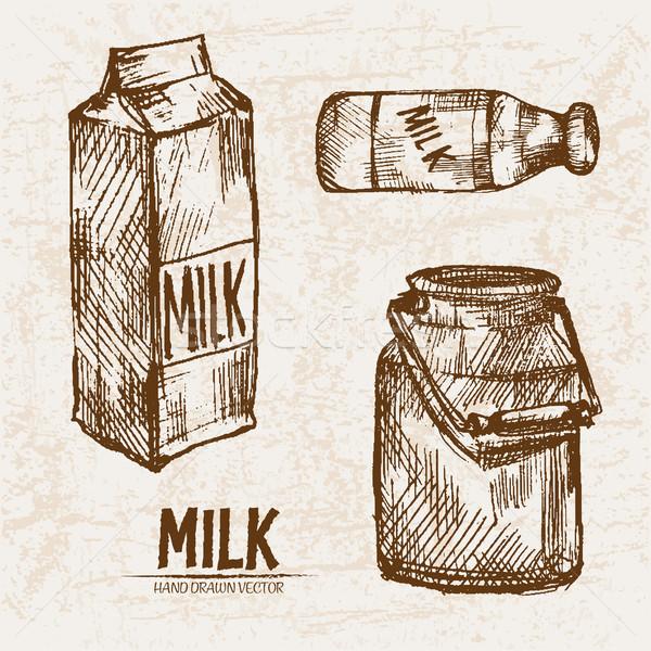 Digitális vektor részletes vonal művészet tej Stock fotó © frimufilms