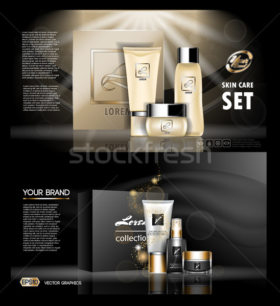 Digital vector golden and black skin care cream Stock photo © frimufilms