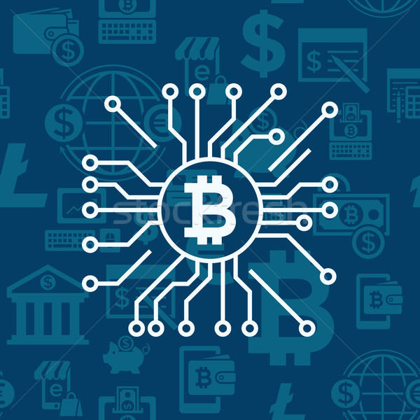 Digital vector bitcoin electronic cryptocurrency Stock photo © frimufilms