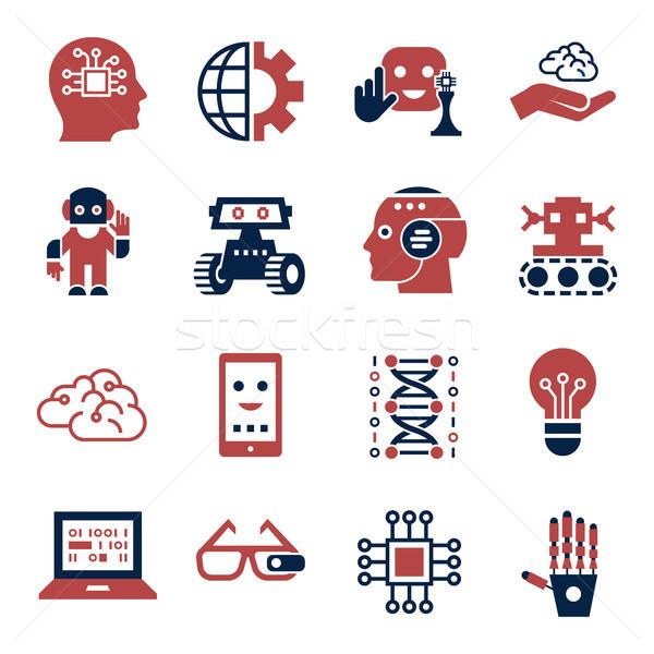 Cyfrowe wektora sztuczna inteligencja elektronicznej proste Zdjęcia stock © frimufilms