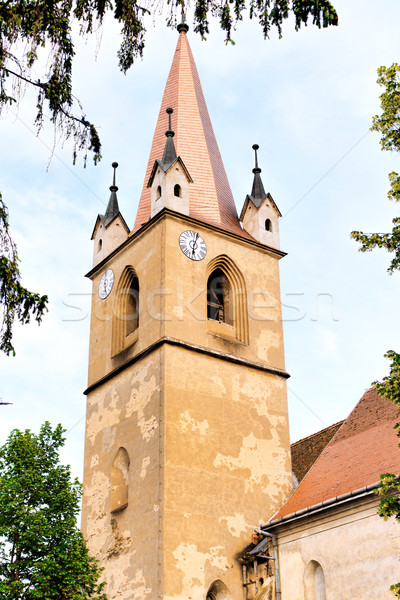 Hungarian catholic church tower with clock Stock photo © frimufilms