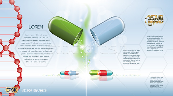 Digital vector green and blue medicine pill Stock photo © frimufilms