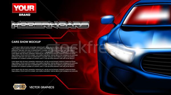 Digital vector blue new modern sport car Stock photo © frimufilms