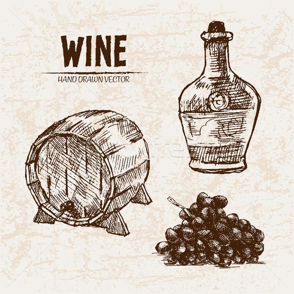 Digital vector detailed line art wine barrel Stock photo © frimufilms