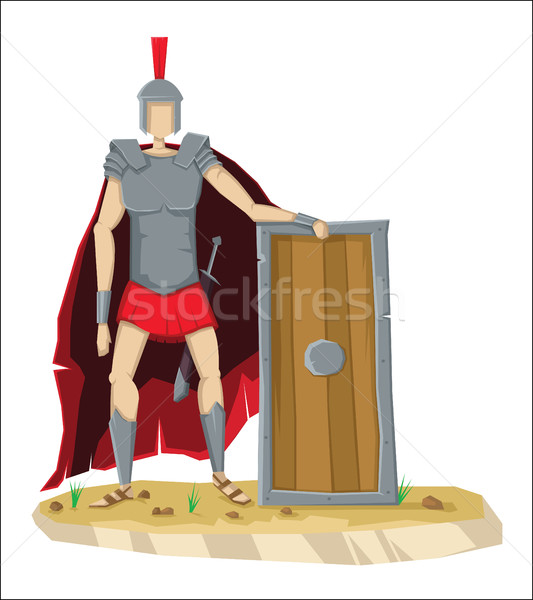 Digital vector tall roman legionnaire with armor Stock photo © frimufilms