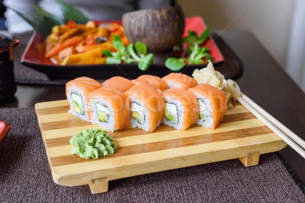 Stockfoto: Philadelphia · zalm · sushi · houten · plaat