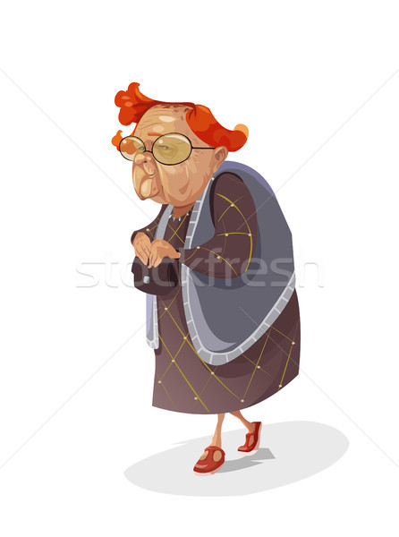Digitale vector grappig komische cartoon oude Stockfoto © frimufilms