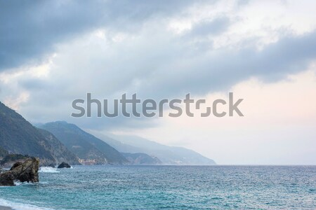 Beautiful view to Monterosso al Mare mountains and blue sea Stock photo © frimufilms