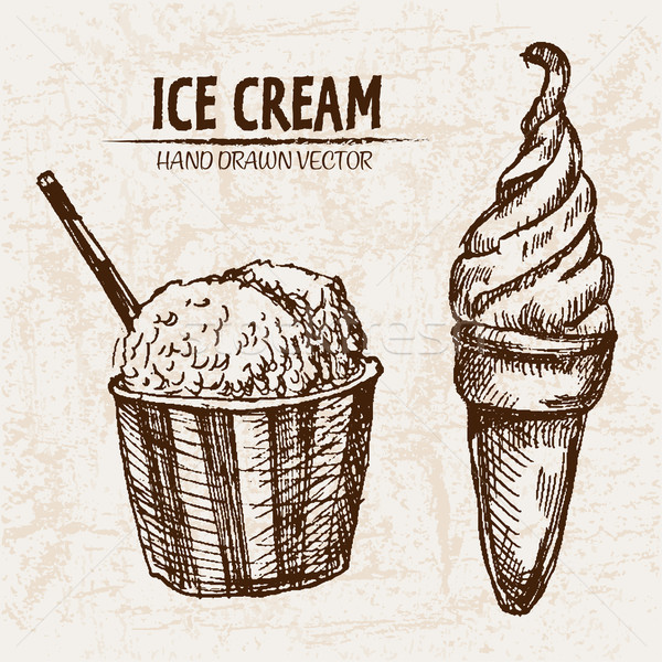 Digital vector detailed line art ice cream in cone Stock photo © frimufilms