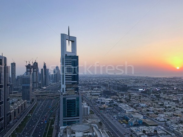 Stock photo: Beautiful aerial view from top to sunrise and city