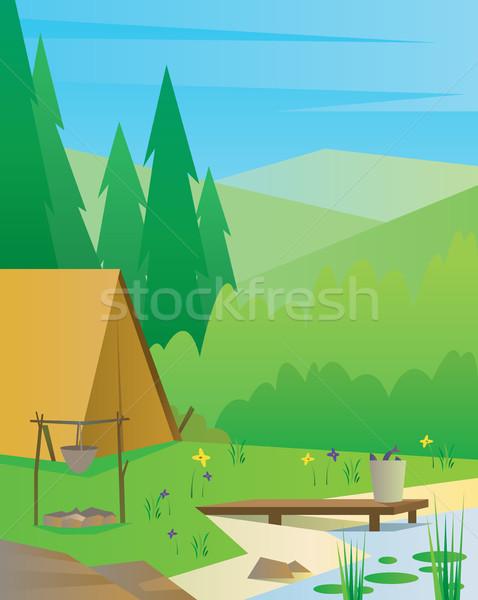 Stockfoto: Digitale · vector · abstract · toeristische · kamp · haard