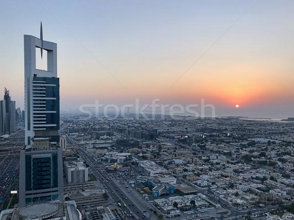 Bella top sunrise città viola Foto d'archivio © frimufilms