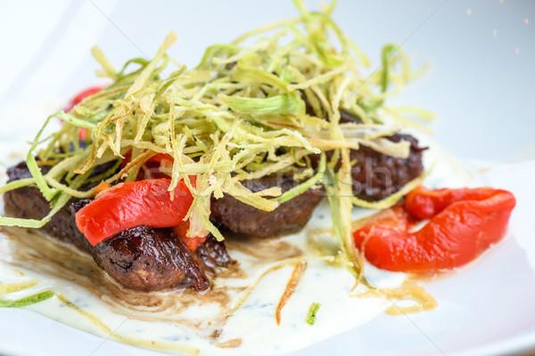 Marhahús pázsit piros főtt bors fehér Stock fotó © frimufilms