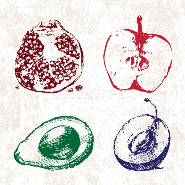 Stockfoto: Digitale · vector · gedetailleerd · kleur · vruchten