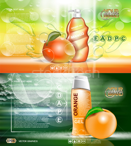 Digitális vektor piros narancs zuhany gél Stock fotó © frimufilms
