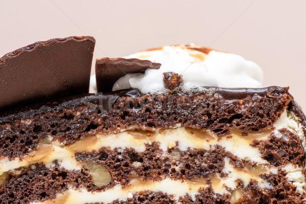 Cioccolato fondente torta fetta bianco crema dadi Foto d'archivio © frimufilms