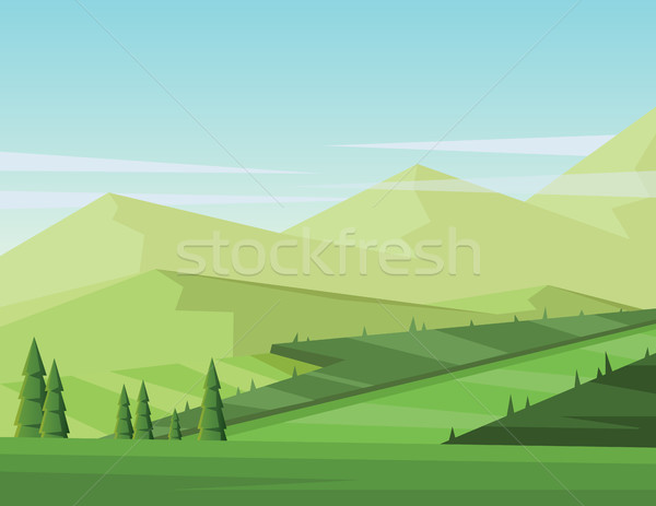 Digital vector abstract background with pines Stock photo © frimufilms