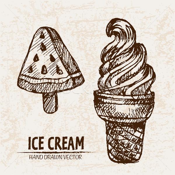 Foto stock: Digital · vetor · detalhado · linha · arte · sorvete
