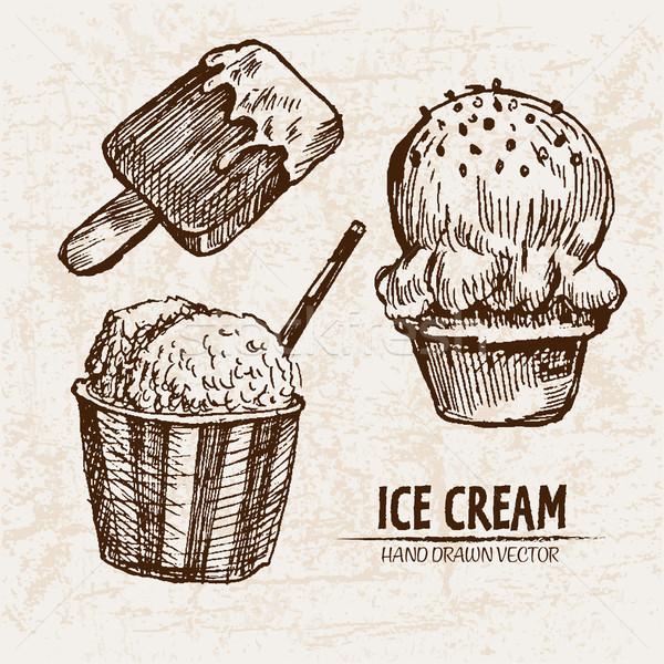 Digital vector detailed line art ice cream Stock photo © frimufilms
